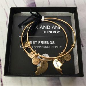 Alex and Ani Best Friends 2 Gold Bangle Bracelets
